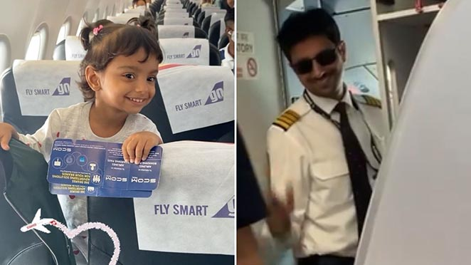 The Reaction Of A Little Girl After Seeing Her Pilot Father On The Same Flight Goes Viral