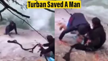 Five Sikhs Used Their Turban to Rescue A Hiker Who Slipped Into The Waterfall